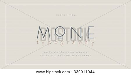 Abstract Thin Line Font Alphabet. Minimal Modern Fonts And Numbers. Typography Typeface Uppercase Lo