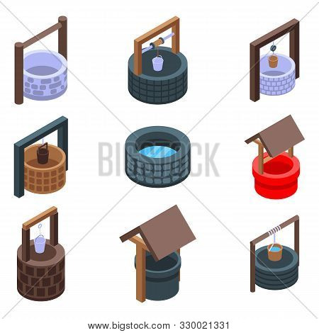 Water Well Icons Set. Isometric Set Of Water Well Vector Icons For Web Design Isolated On White Back