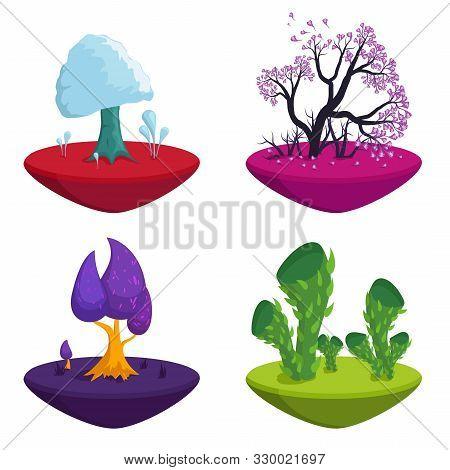 Fairytale Trees Set Isolated On White Background. Fantasy Plants Nature Landscape Elements, Funny Co