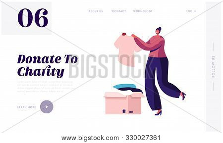 Woman Participating At Charity Website Landing Page. Selfless Kind Female Character Bring Box With C