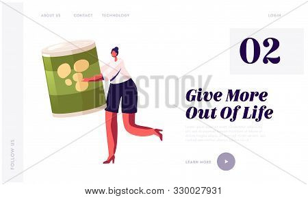 Poverty And Volunteering Website Landing Page. Woman Holding Canned Food Jar. People Bringing Foodst