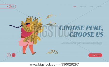 Seasoning and Spices for Cooking and Herbal Aroma Therapy Treatment Website Landing Page. Young Woman Carry Huge Bunch of Medical or Eatable Herbs Web Page Banner. Cartoon Flat Vector Illustration poster