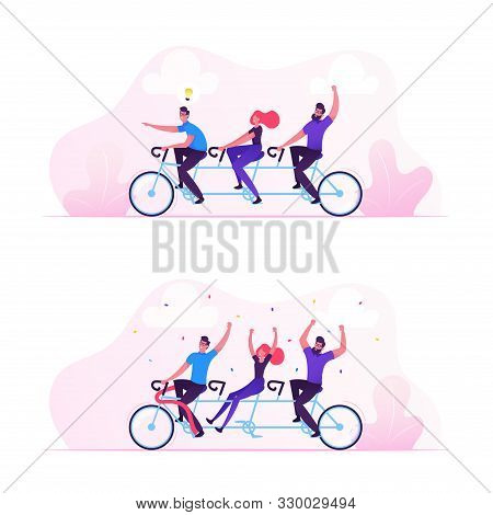Team Work Business Success Concept. Businesspeople Riding Bicycle Generating New Idea, Man With Ligh
