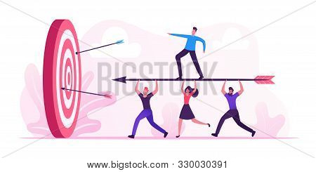 Business Goals Achievement Concept. Businesspeople Team Carry Huge Arrow With Businessman Standing O