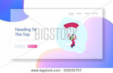 Parachute Jumper Flying In Sky Website Landing Page. Equipped Skydiver In Helmet And Goggles Hanging