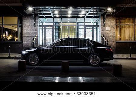 Russia , Nizhny Novgorod - October 24, 2019: New Luxury Car Genesis G 90. Security. Control Of The R