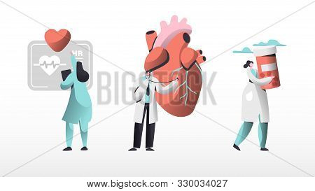 Medical Cardiology Workers Care Heart Health Set. Cardiologists Team With Pill For Treatment, Listen