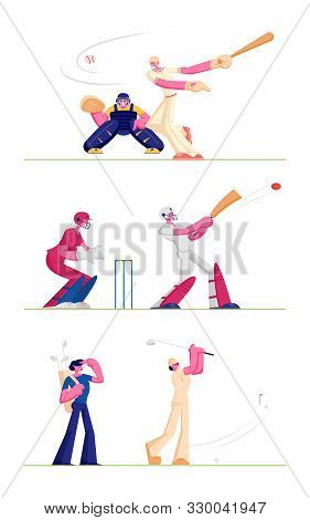 Set Golf And Baseball Players Isolated On White Background. People Play On Course Hitting Ball To Ho