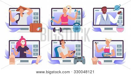 Video Bloggers. Beauty Blogger Or Vlogger, Travel Blog And Lets Play Gamer Stream Translation. Fitne