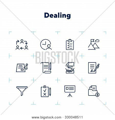 Dealing Line Icon Set. Funnel, Contract Signing, Handshake. Business Concept. Can Be Used For Topics