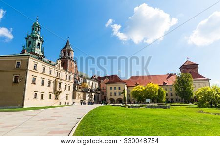 Wawel castle yard with lawn, panoramic view poster