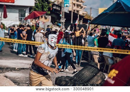Nabatieh, South Government / Lebanon - 10 20 2019: Lebanese Protesters Revolution Against The Govern