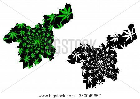 Saraburi Province (kingdom Of Thailand, Siam, Provinces Of Thailand) Map Is Designed Cannabis Leaf G