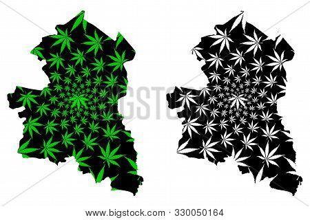 Sing Buri Province (kingdom Of Thailand, Siam, Provinces Of Thailand) Map Is Designed Cannabis Leaf