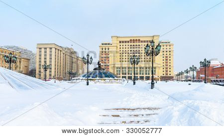 Moscow - Feb 2, 2018: Manezhnaya Square Or Manege In Moscow, Russia. Panorama Of The Moscow City Cen