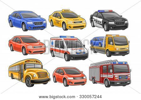 Vector Set Of Cars, 9 Illustration Of Cut Out City Vehicles On White Background, Taxi Cab, Police Ca