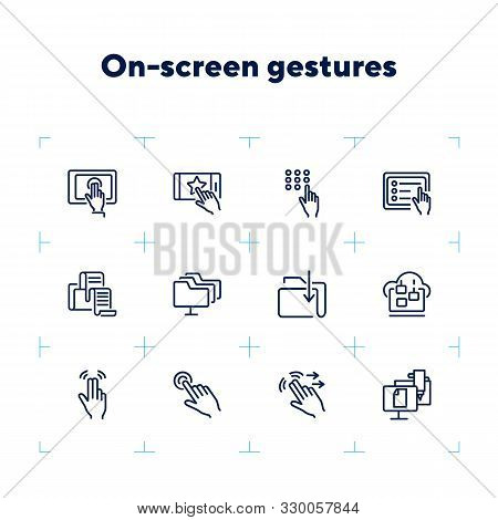 On-screen Gestures Line Icon Set. Double Tap, Swipe, Hand. Modern Technology Concept. Can Be Used Fo