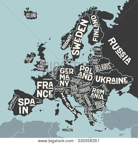 Europe, Map. Poster Map Of The Europe With Country Names