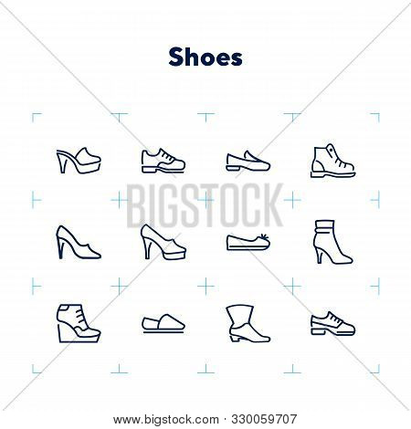 Shoes Line Icon Set. Set Of Line Icons On White Background. Cowboy Boot, Espadrille, High Heel Shoes
