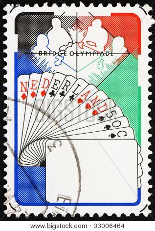Postage stamp Netherlands 1980 Bridge Players, Netherlands Hand