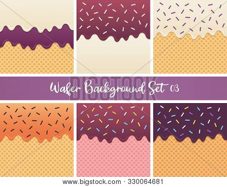 Set Of Blueberry And Orange Sauce Wafer Vector.
