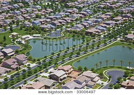 Suburb With Man Made Lakes