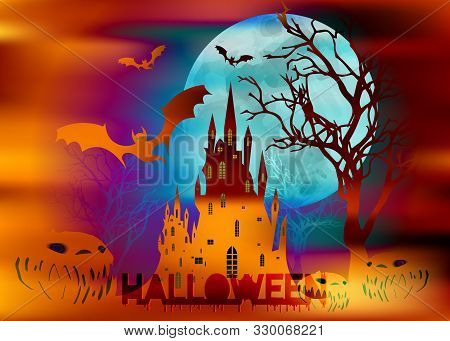 Mystic Vector Illustration, Dark Orange Background On A Spooky Full Moon Background With Silhouettes