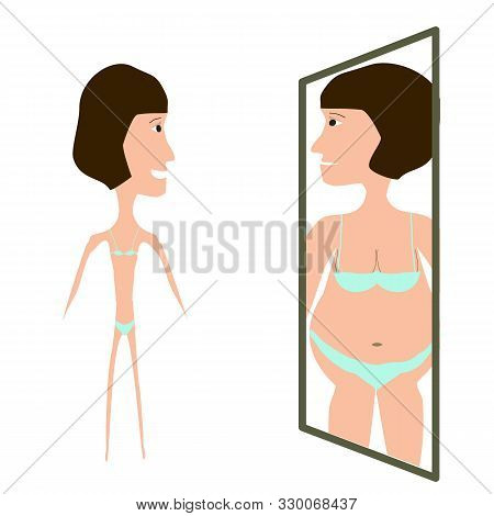 Anorexia. Slim Physique With Anorexia. Reflection Of Obesity In The Mirror. Infographics. Vector Ill