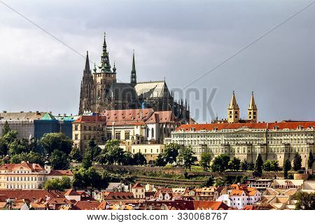 Prague.czech Republic.august 29, 2019.view Of Prague Castle And St. Vitus Cathedral In Prague.