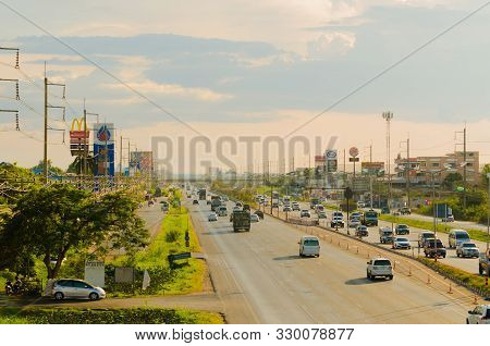 Samut Sakhon Thailand - May 2019 : Cars Running On Traffic At Afternoon At Rama Ii Road On May 1, 20