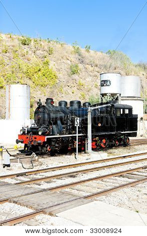 steam locomotive at railway station in Tua, Douro Valley, Portugal poster