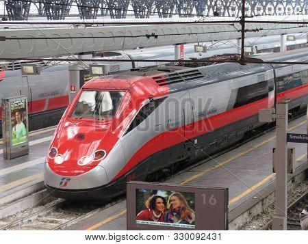 Milan, Italy - Circa January 2014: Milano Centrale, Main Railway Station In Milan With Frecciarossa