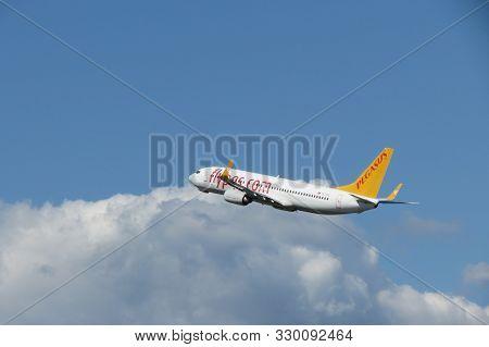 Orio Al Serio, Bergamo, Italy - Circa September 2015: Pegasus Aircraft Immediately After Take-off