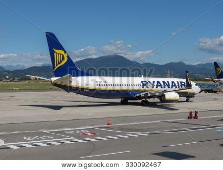 Orio Al Serio, Bergamo, Italy - Circa September 2015: Ryanair Aircraft Boeing 737-800 On The Runway