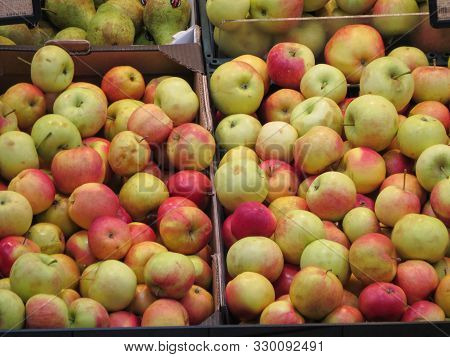 Vilnius, Lithuania - Circa April 2017: Red Apple (malus Domestica) Fruit Vegetarian Food
