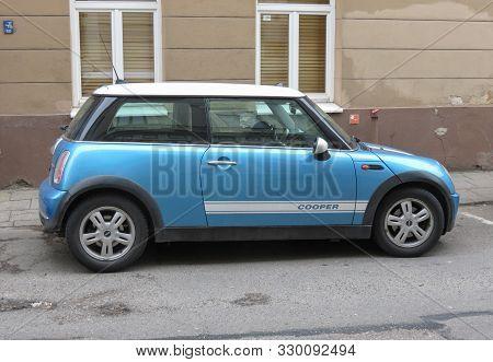 Vilnius, Lithuania - Circa April 2017: Blue Mini Cooper Car Parked In The City Centre