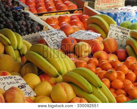 Rome, Italy - Circa October 2018: Different Kinds Of Fruit On A Marketplace Counter - Useful As A Ba