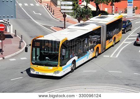 Fontvieille, Monaco - September 12, 2019: Urban Articulated Bus Mercedes-benz O530 Citaro G In The C