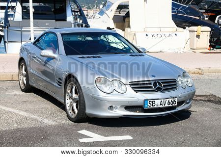 Saint-tropez, France - September 11, 2019: Luxury Convertible Car Mercedes-benz Sl-class (r230) In T