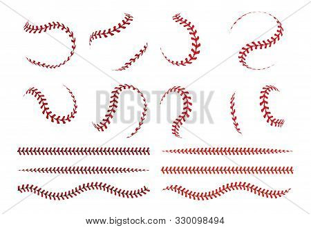 Baseball Ball Lace. Spherical Curve And Straight Red Stroke Lines Of Softball Ball. Vector Graphic E