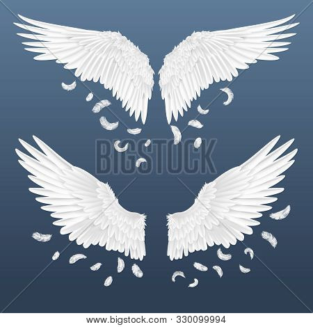 Realistic Wings. White Isolated Pair Of Angel Wings With Falling Feathers, 3d Bird Wings Design. Vec