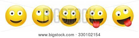 Set Of Vector Yellow Smiling, Dreaming, Insane, Crazy Emoticon With Opened Eyes On White Background.