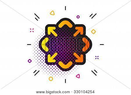 Full Screen Symbol. Halftone Circles Pattern. Maximize Arrow Icon. Maximise Navigation Sign. Classic