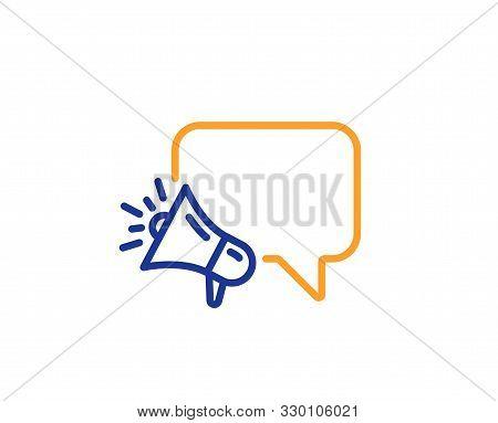 Advertisement Device Symbol. Megaphone Line Icon. Brand Ambassador Speech Bubble Sign. Colorful Outl