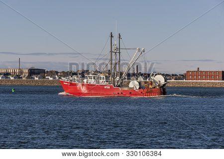 New Bedford, Massachusetts, Usa - March 17, 2019: Dragger Mary K, Hailing Port Woods Hole Massachuse
