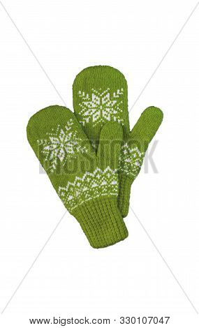 Pair Of Green Knitted Mittens With Christmas Pattern Isolated On