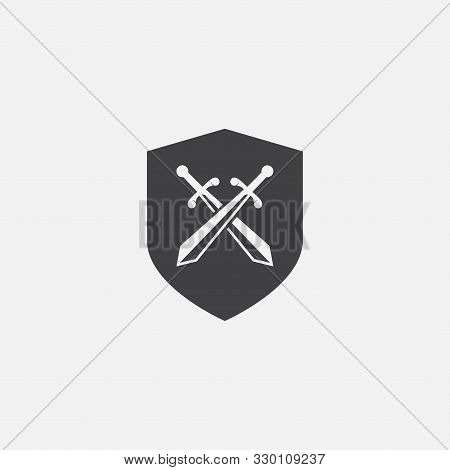 Vector Shield And Crossed Swords Icon, Flat Design Swords And Shield Vector Icon, Sword Icon Concept