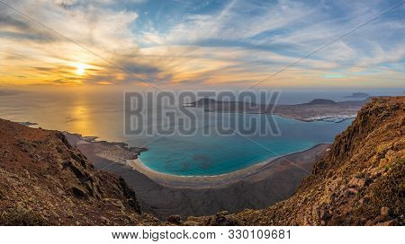 View At Atlantic Ocean And La Graciosa Islands At Sunset, Lanzarote, Canary Islands, Spain