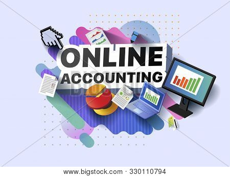 Modern Banner Of Online Accounting. Vector Illustration Of A Business Poster With Different 3d Isome