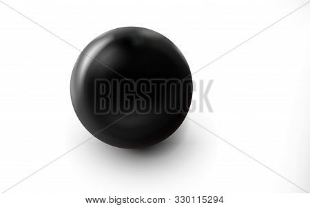 Mockup Of Blank Glossy Black Sphere Or Orb 3d. Icon Abstract Symbol. Template Vector Illustration Fo